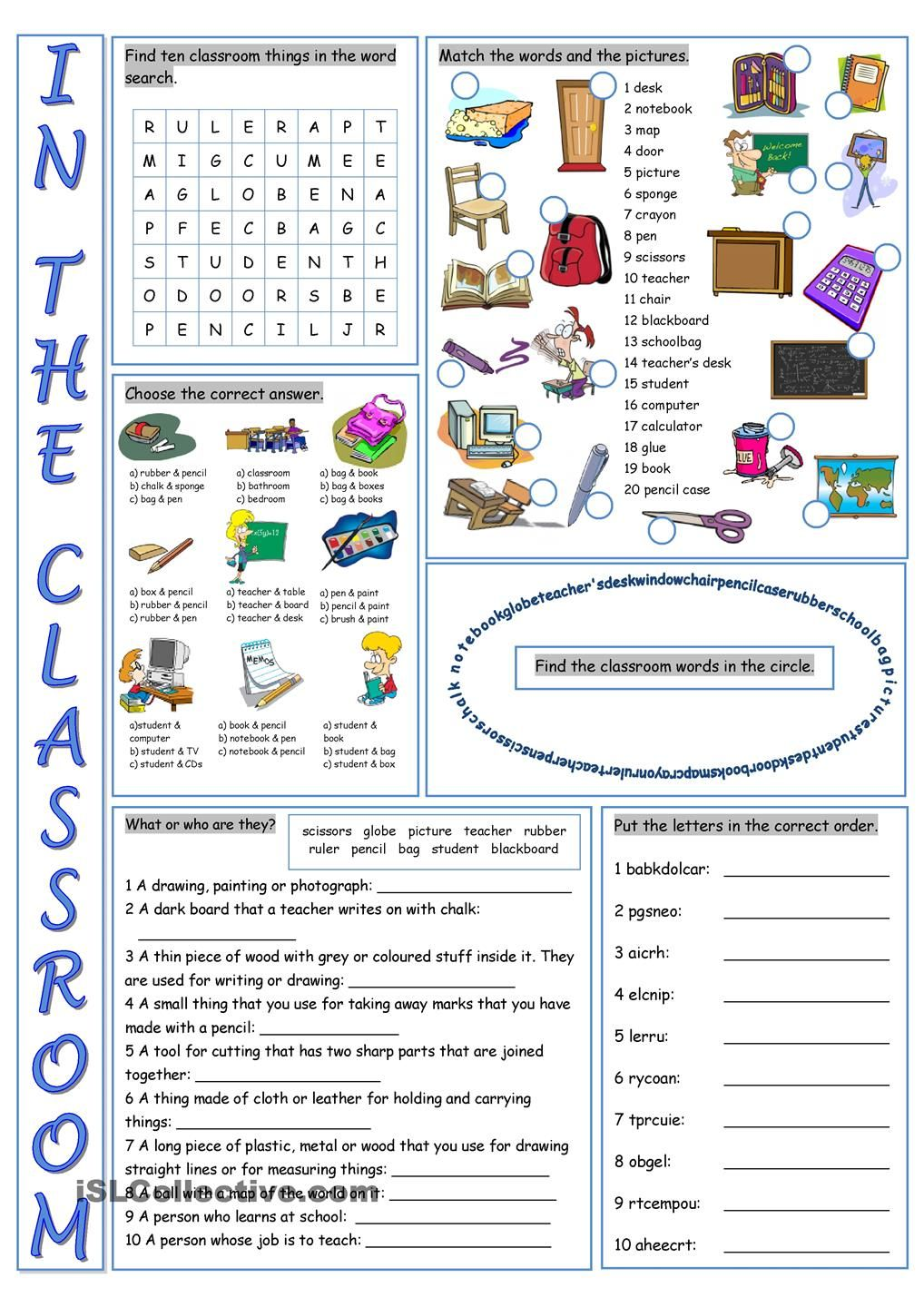 In the Classroom Vocabulary Exercises worksheet - Free ESL printable  worksheets made by teachers