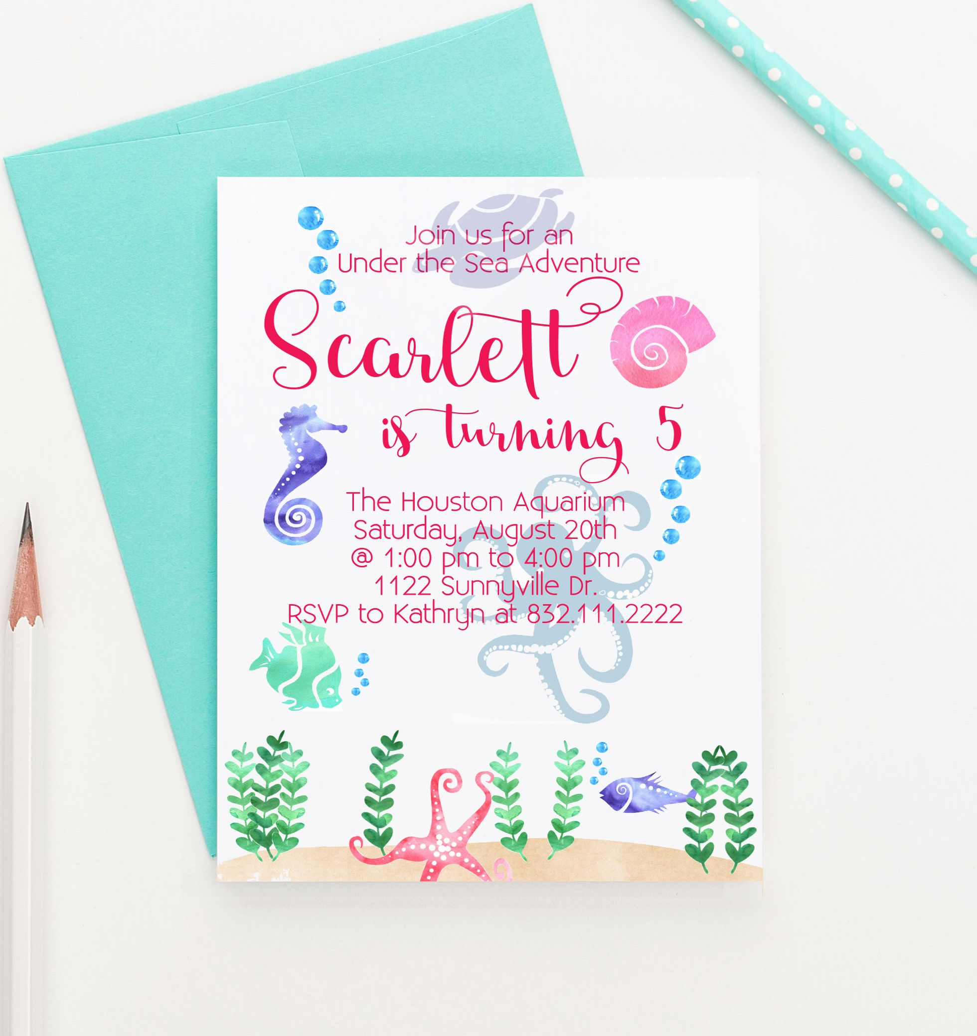 Under the Sea Birthday Invitations, Mermaid Party Invites | Mermaid ...