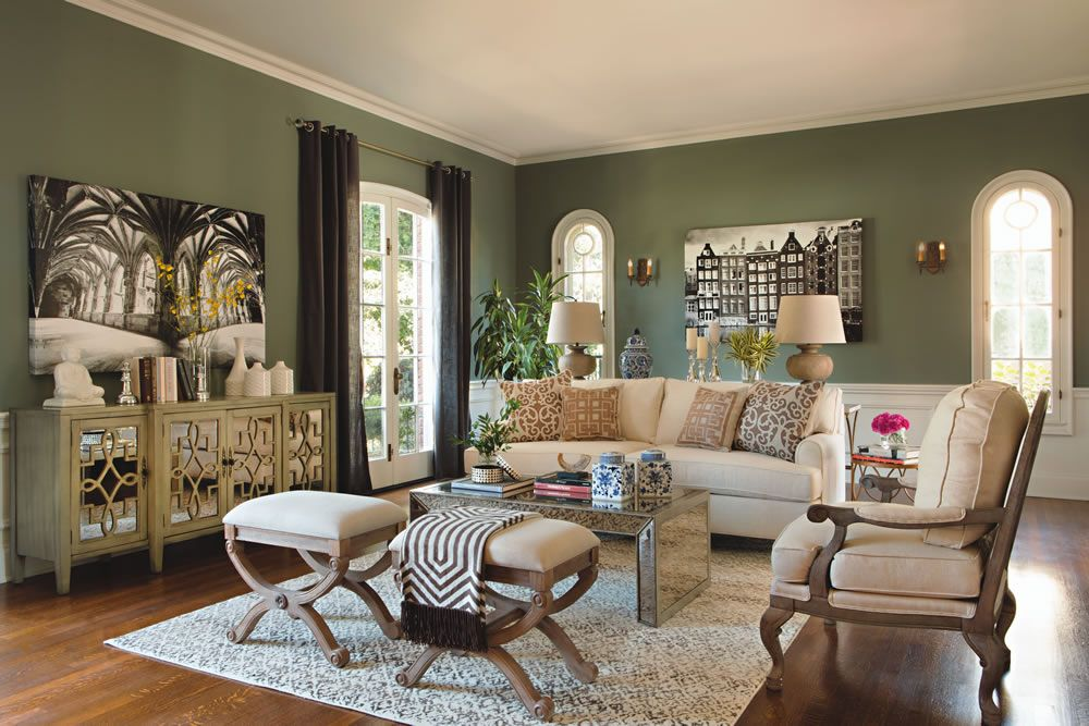Love This Green Paint Color And Also The Light Grey Washed Furniture Black White Jeff Lewis