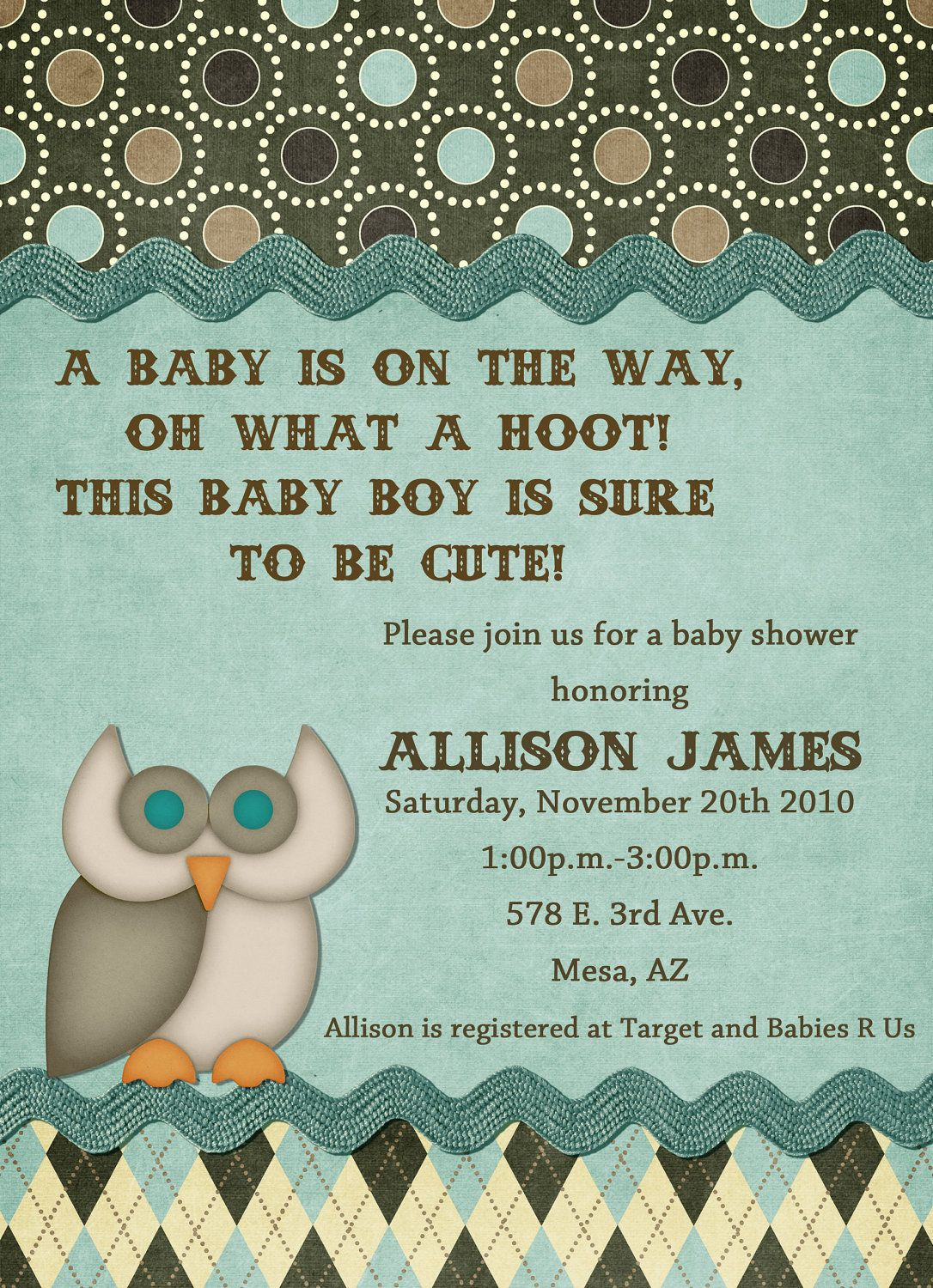 Owl Theme Baby Shower Invitation. $15.00, via Etsy. | owl ...