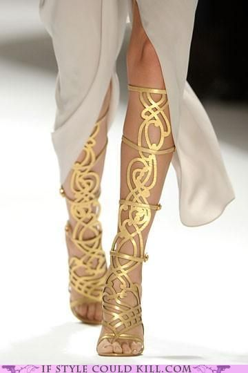 Gold knee high shoes... greek/roman/celtic style