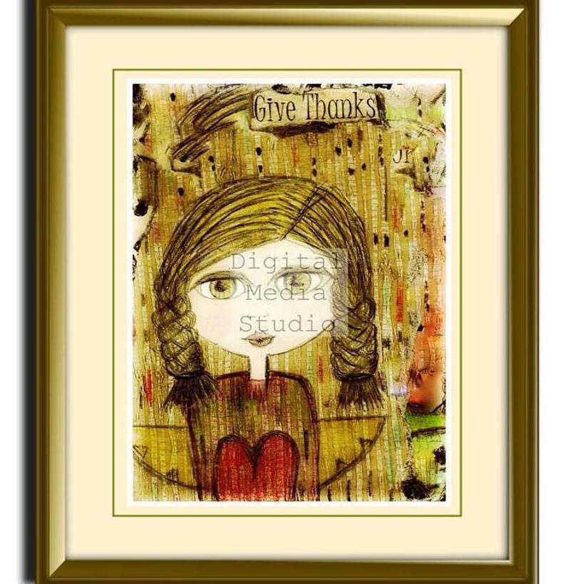Girl Art Print Mixed Media Art Gift For Sister Friend Etsy