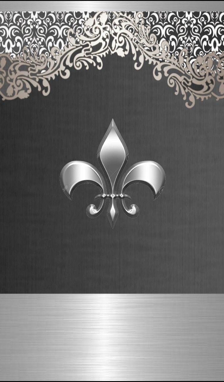 Fleur De Lys Wallpaper By Artist Unknown Samsung Wallpaper Heart Wallpaper Silver Grey Wallpaper