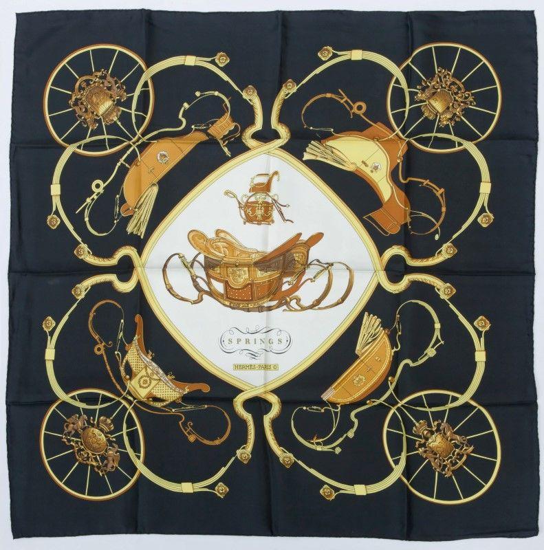 f170be6686c8 Hermès, carré en twill de soie  « Springs », fond noir, 90x90 cm ...