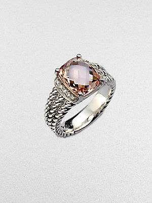 David Yurman Diamond Accented Morganite Sterling Silver Ring - Yes Please!