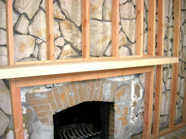 How To Build A Standard Wall Over A Stone Wall Stone Fireplace Mantles Stone Fireplace Makeover Fireplace Remodel