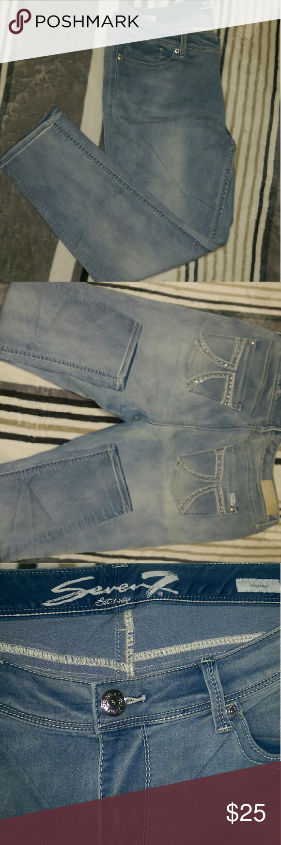 Seven 7 Luxe Skinny Jeans EUC Light weight denim Beautiful pocket detail Seven7 Jeans Skinny