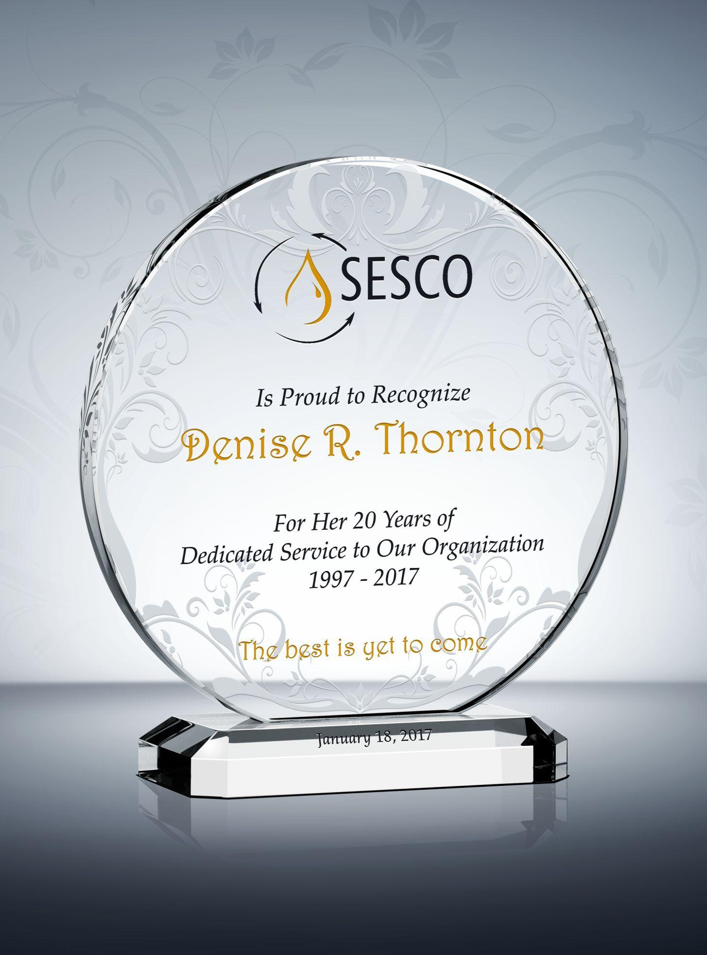 circular crystal years of service award plaque