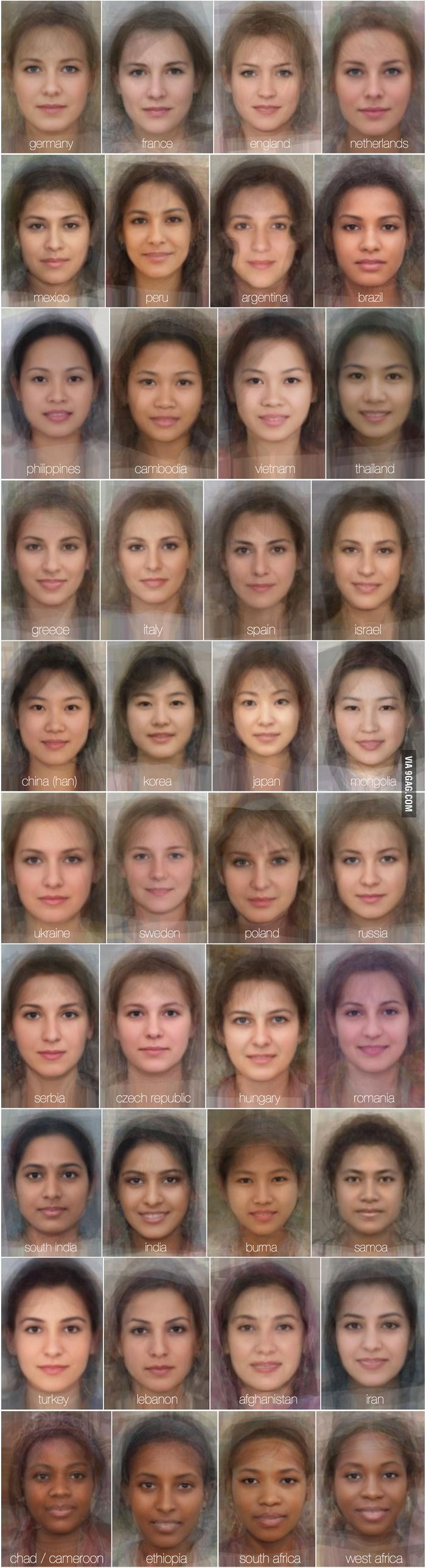 The Average Women Faces In Different Countries... crazy im german, netherlands, and sweden combined...