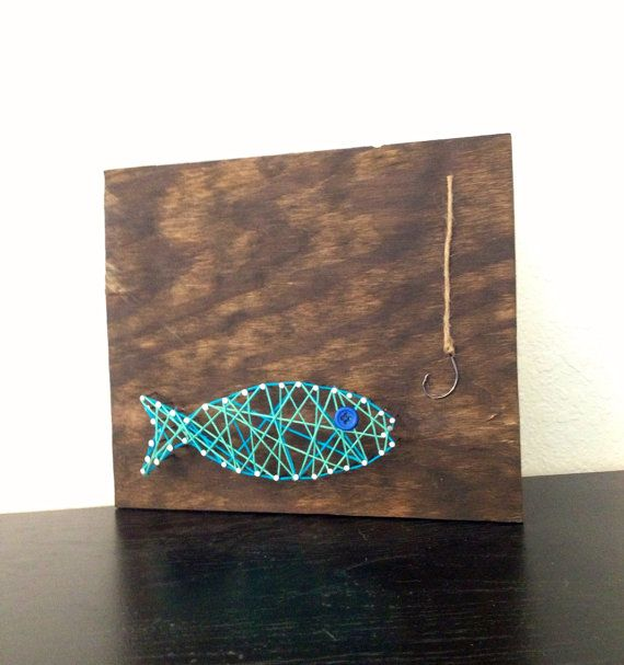 Blue green fish nail and string art home wall decor i for Fish string art