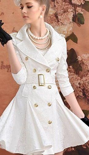 trench coat branco feminino | Trench Coat/ Casaco Em Jacquard ...