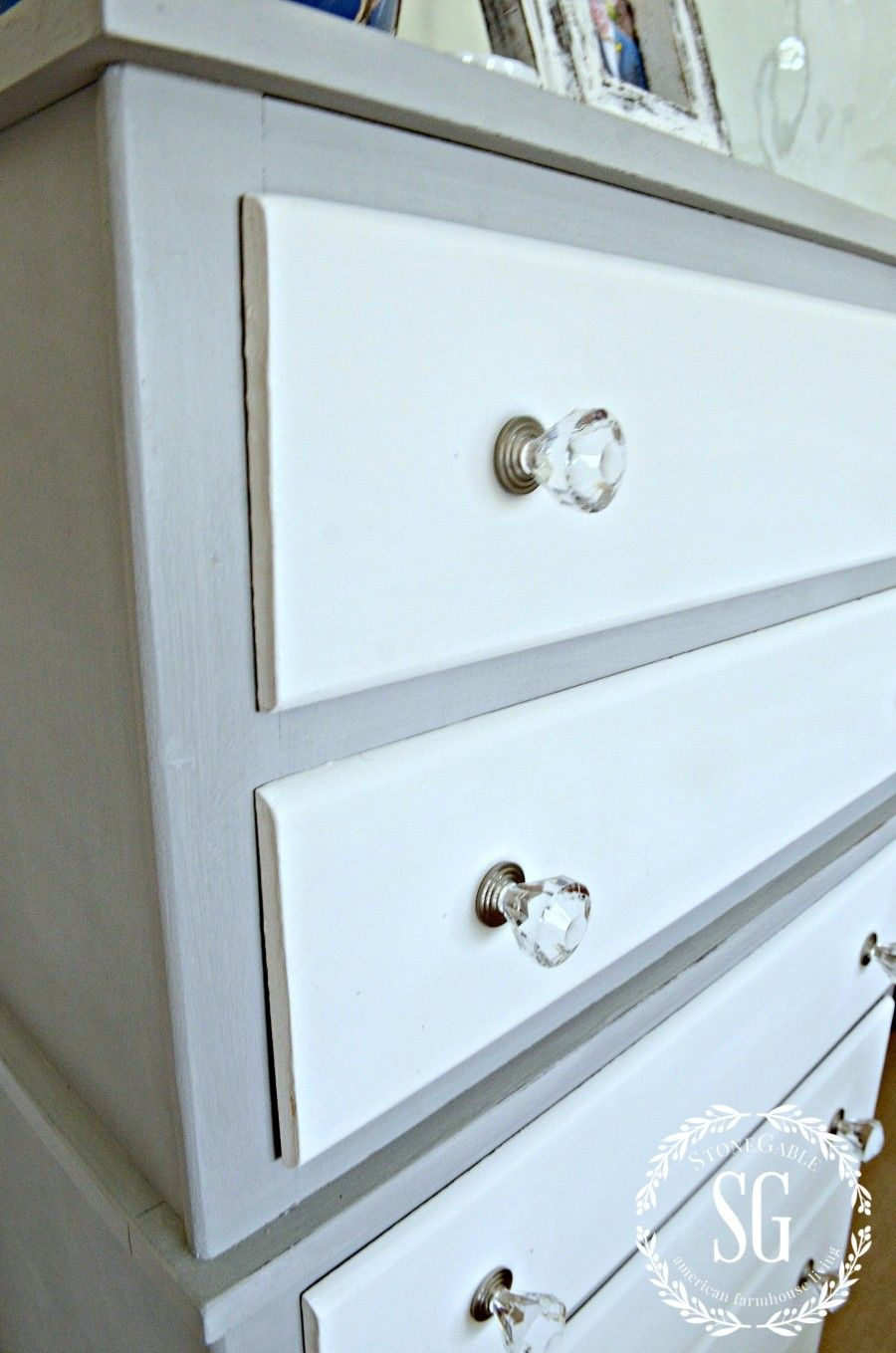 Two Toned Paris Grey And White Dresser Diy Stonegable Diy Dresser White Dresser Diy Dresser Remodel [ 1359 x 900 Pixel ]