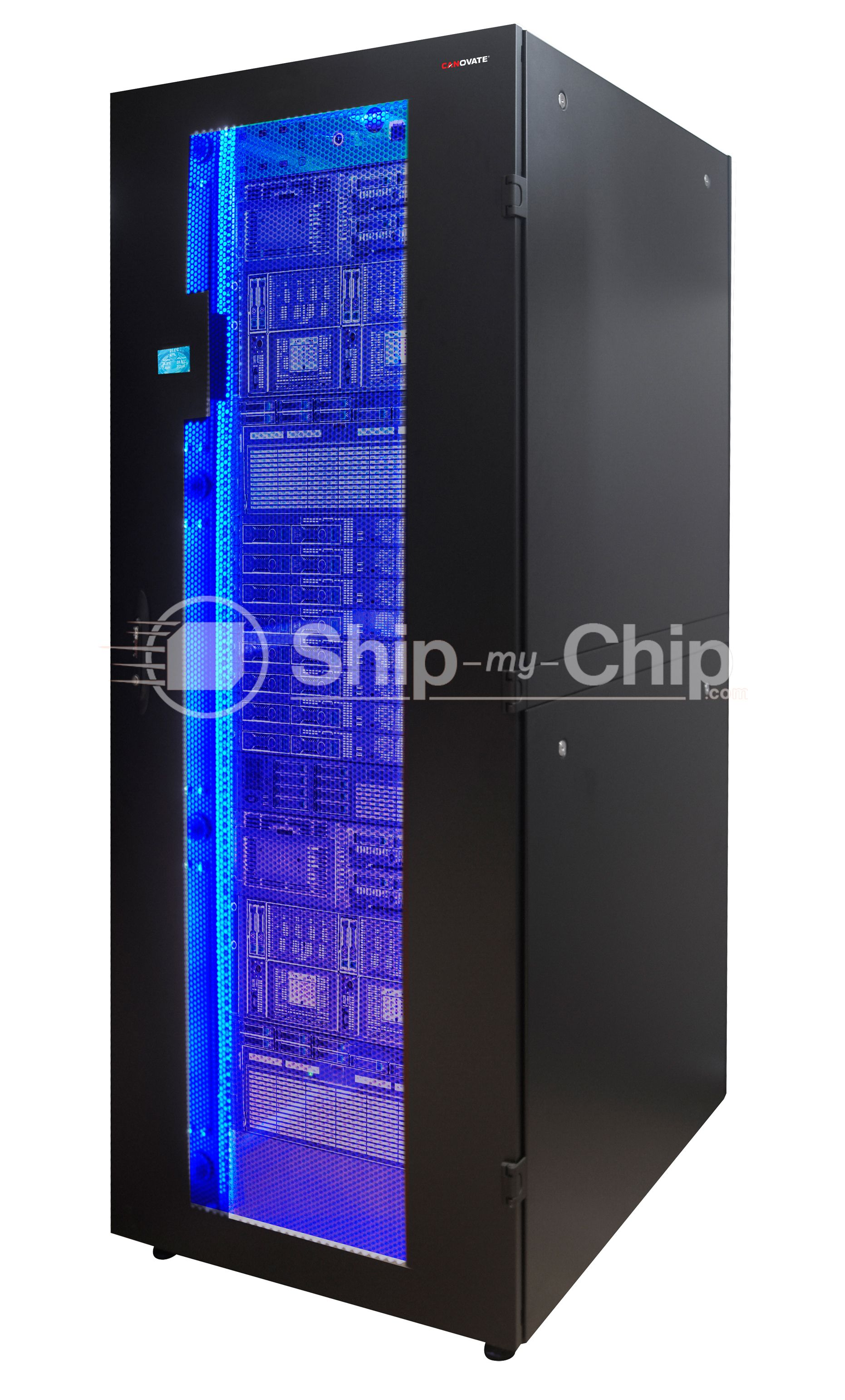 glass perforated it server with open rack door rear cabinet products
