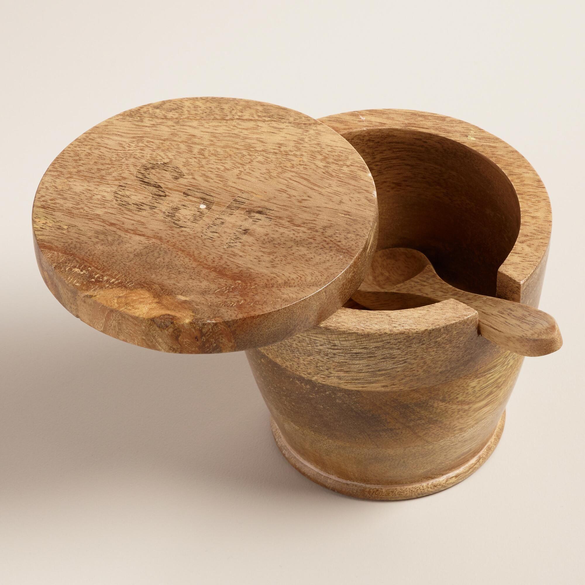 Mango Wood Lidded Salt Cellar With Spoon