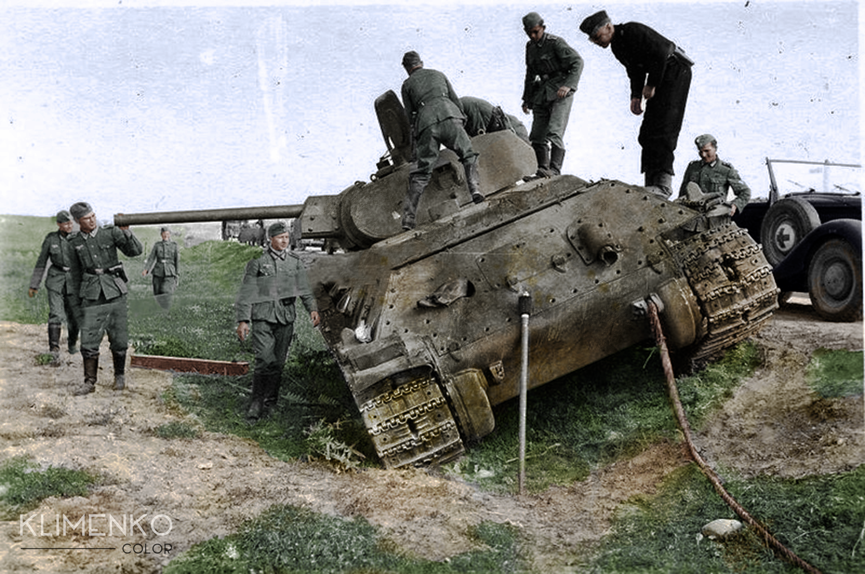 Germans soldiers inspecting a T-34 wreck    #Colorization   Military