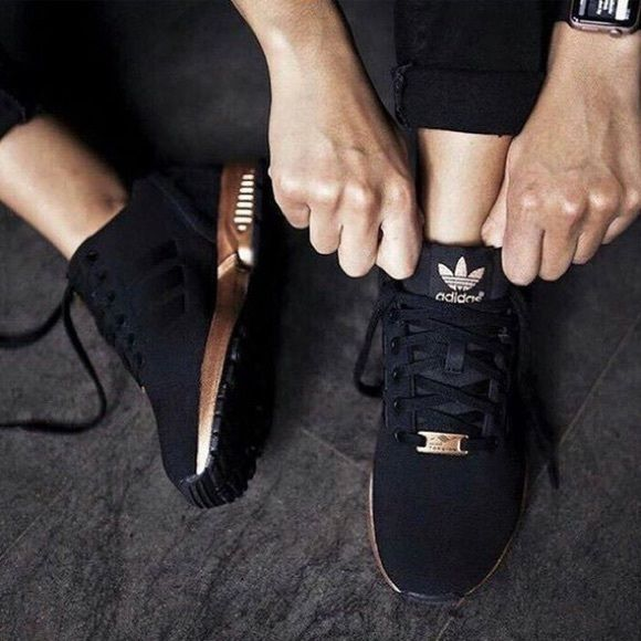 ❌❌SOLD❌❌Adidas ZX Flux black and rose gold NWT | Black ...