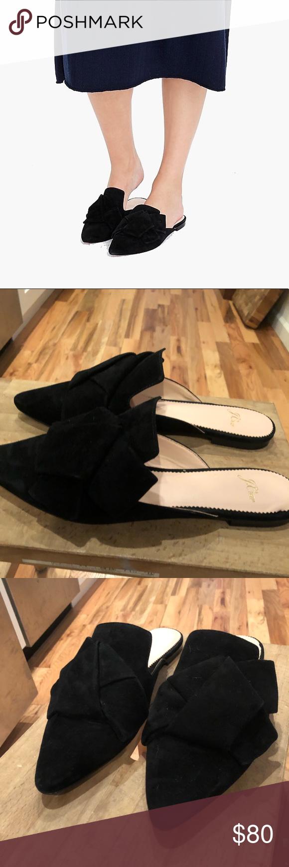 Pointed toe slides in suede Black suede
