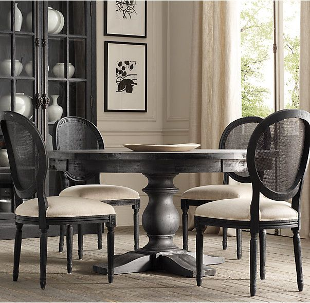 Vintage French Round Cane Back Fabric Side Chair - CasaGiardino] ♛ Chic Dining Room Features A Round Marble Top