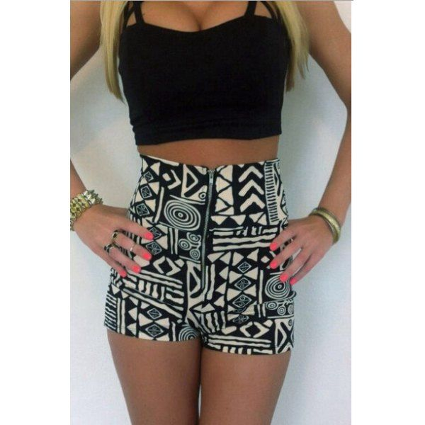 Spaghetti Strap Tank Top   High-Waisted Printed Shorts Women's ...