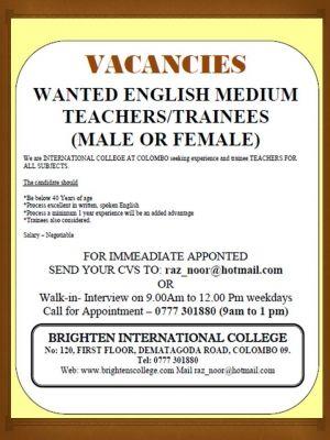 rogersongama | Sri Lanka Teacher Wanted Jobs Free Classifieds