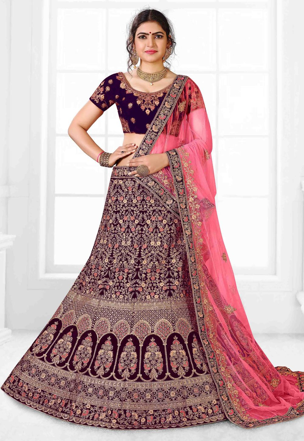 Buy Purple Velvet Embroidered Circular Lehenga Choli 169993 Online At Best Price From Vast Collection Of Lehenga Lehenga Choli Lehenga Gown Indian Bridal Dress