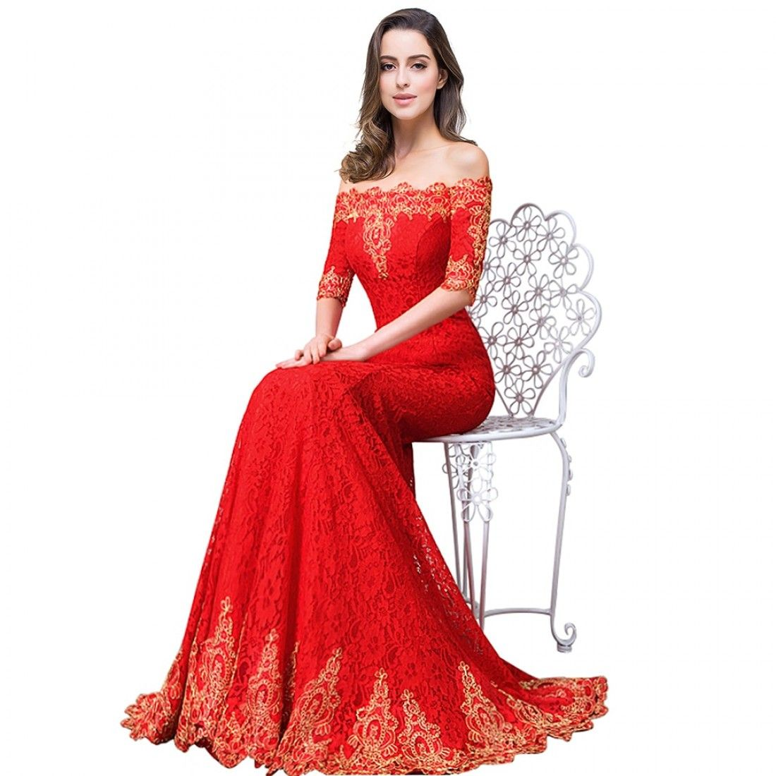Gold lace appliques red mermaid prom dresses long cheap