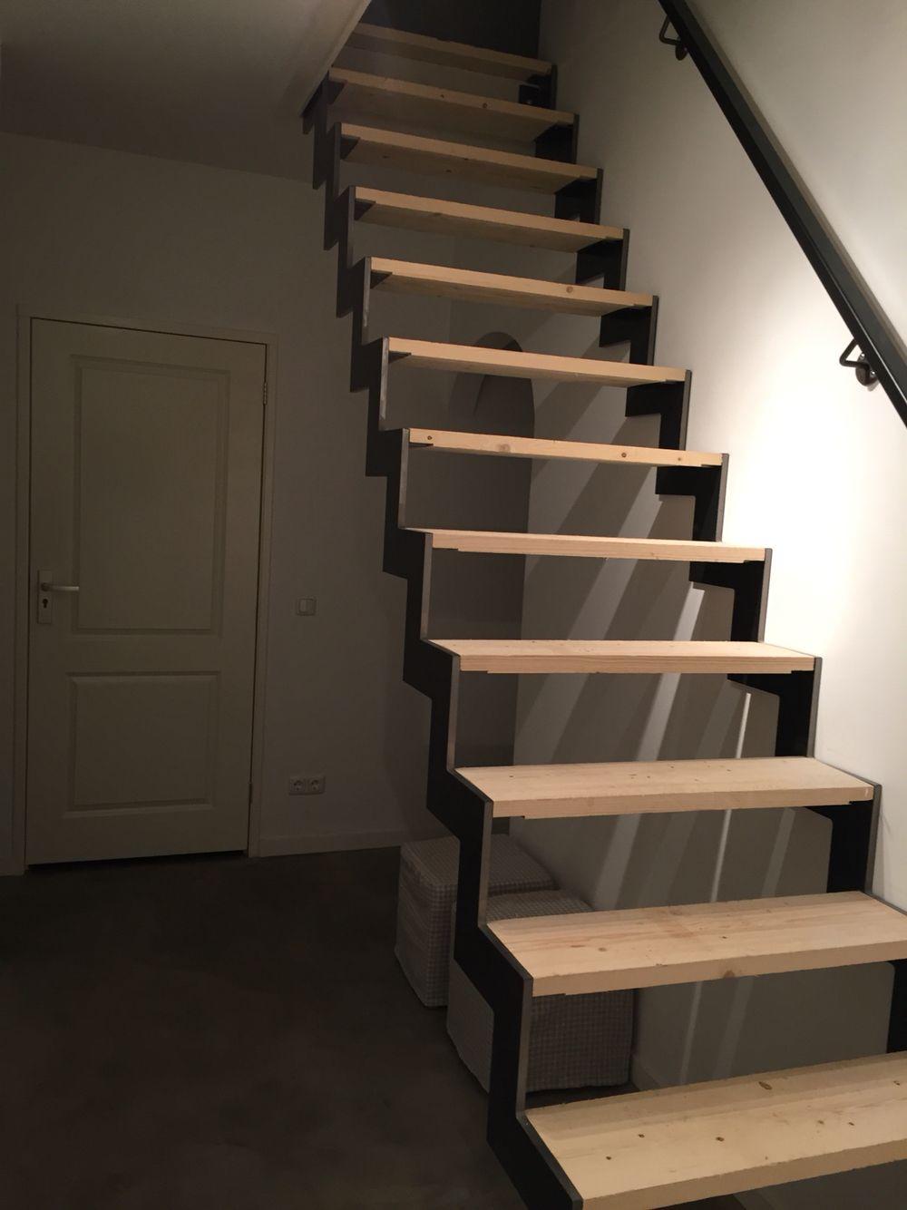 stalen trap met houten treden stairs pinterest