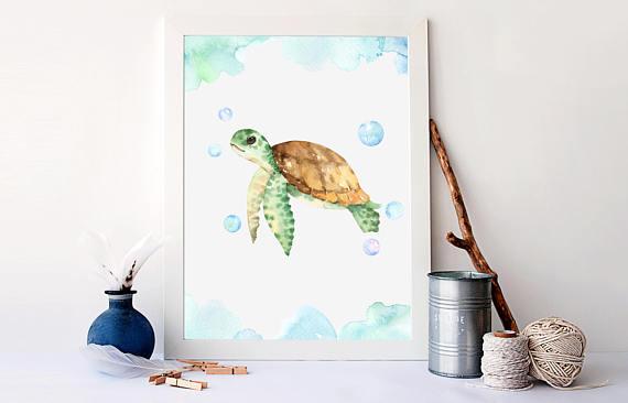 Watercolor Sea Turtle Print Nautical Bathroom Decor Nautical Home Decor Nautical Art Prints Sea Tur Watercolor Sea Sea Turtle Print Nautical Bathroom Decor