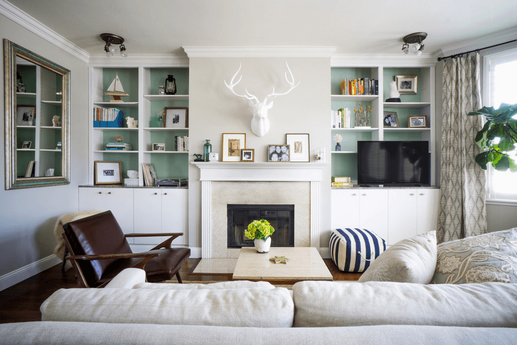 Built In White Shelves With Light Green Backing - Create your own built-ins to frame a fire place or other focal point