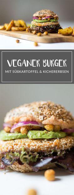 Vegan kochen: Veganer Burger mit Süßkartoffel und Kichererbsen #veganerezepte