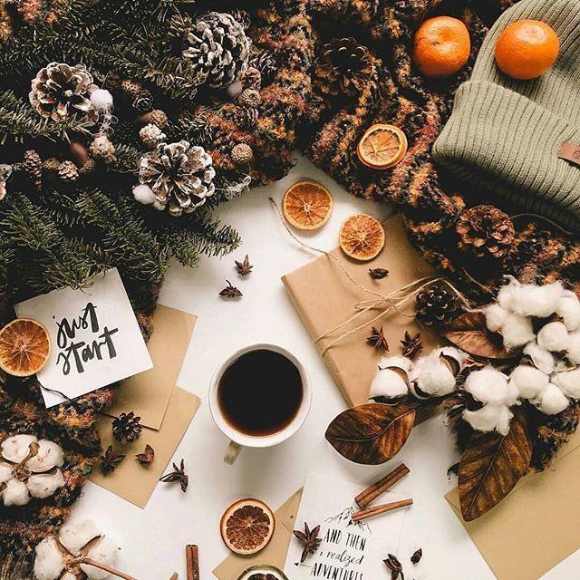 #раскладка #кофе #нг #шишки #мандаринки #зима #зима2019 # ...