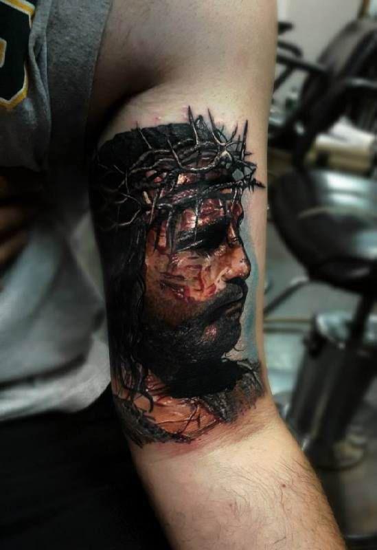 d4392ac305d67 Portrait Of Jesus Crown Of Thorns Tattoo - Ideas Tattoo Designs | Jesus  Crown Tattoos For Men | Thorn tattoo, Jesus tattoo y Tattoos