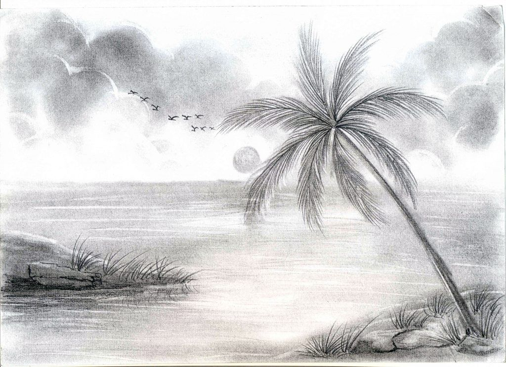 Sketch Scenery Drawn Landscape Pencil Painting Pencil And In Color Drawn Free Drawing Scenery Landscape Sketch Landscape Drawings