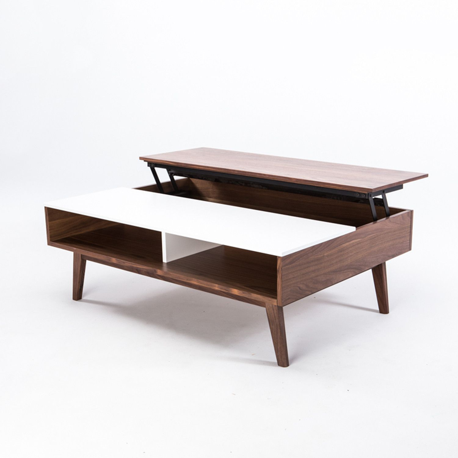 Walnut Lifting Coffee Table Obvious nod to mid century influence