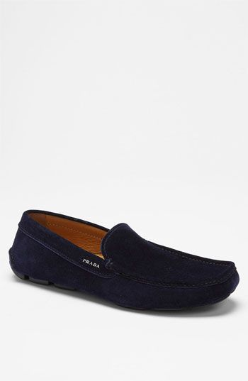 $550, Navy Suede Driving Shoes: Prada