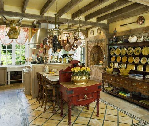"enchanting farmhouse kitchen design   Love the tile ""rug"", the huge Welsh dresser, beams with ..."