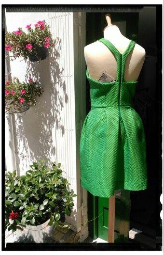 Vestido verde jacquard escama