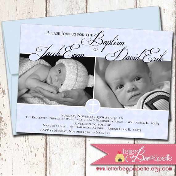 Twins custom baby boys baptism invitation by letterbeepaperie twins custom baby boys baptism invitation by letterbeepaperie 1800 stopboris
