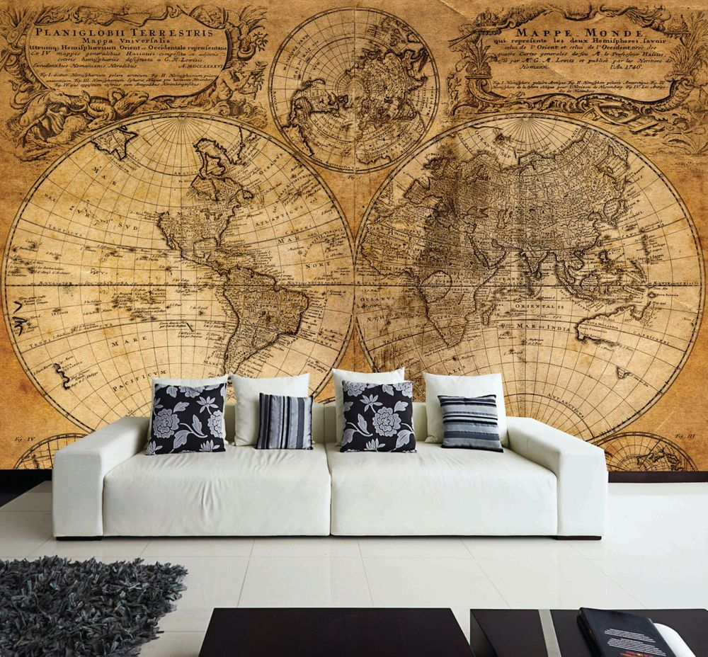 Wall removable sticker old vintage golden world map vinyl mural wall removable sticker old vintage golden world map vinyl mural vintage gumiabroncs Image collections