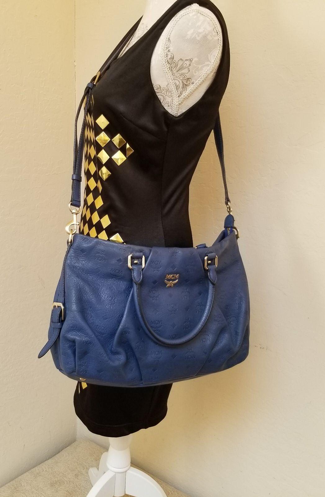 Pre Owned Authentic Mcm Shoulder Crossbody Bag Blue Monogram No