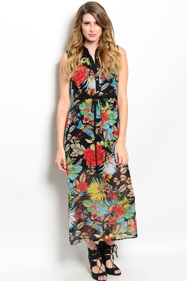 1eaa313769d Black Tropical Flowers Maxi Dress