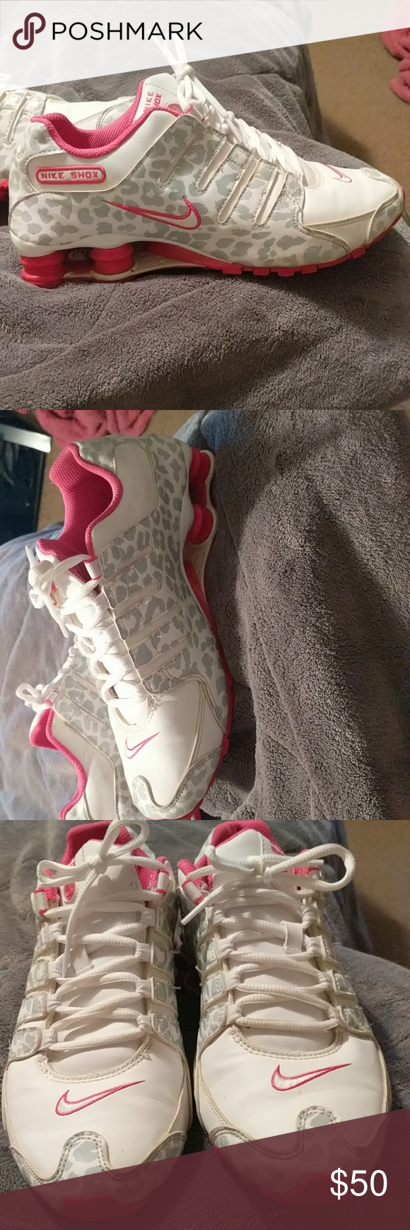 new style 5e853 61e32 Nike shox Pink and white leopard print - like new! Only worn a handful of  times! Nike Shoes Sneakers