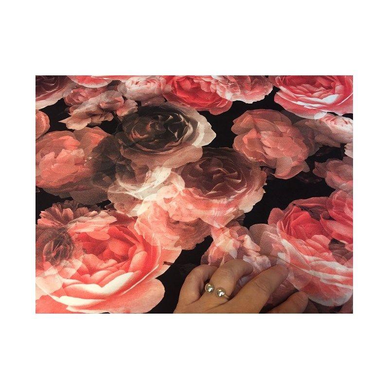 Bomuldsjersey - sort med rødlige store blomster