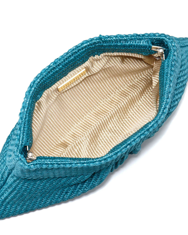 Louise Raffia Clutch Bag, Turquoise