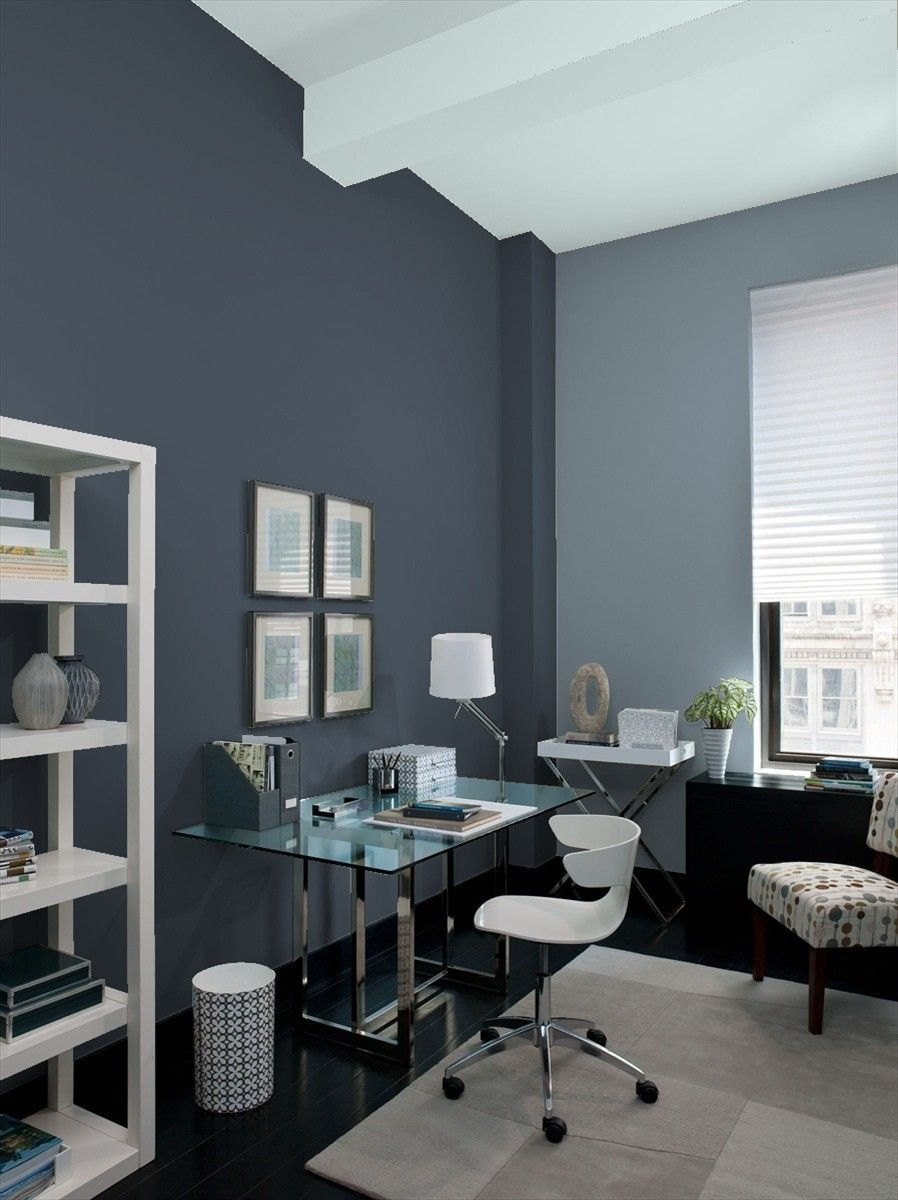 Home Office Painted In Benjamin Moore S Hale Navy Black Pepper And Smoke Gray Home Offices Blue Home Offices Home Office Colors