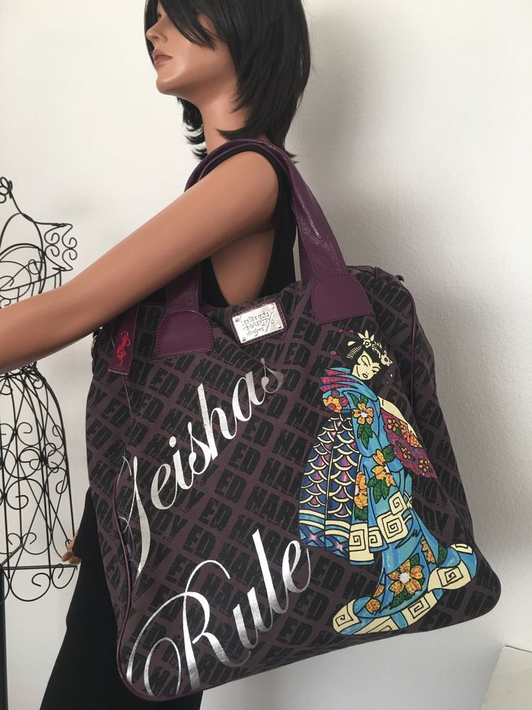 Don Ed Hardy Designs  Bag Geisha Rule Designer Fashion Large Japanese Hip Purple  | eBay