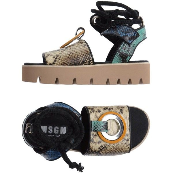 Msgm Sandals (€415) ❤ liked on Polyvore featuring shoes, sandals, beige, lace up wedge sandals, leather ankle strap sandals, leather buckle sandals, ankle strap sandals and leather wedge sandals