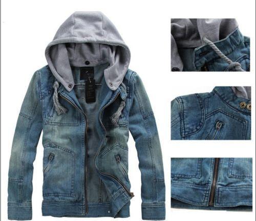 2012Hot-Mens-CLASSIC-VINTAGE-Denim-Hooded-Jean-Jacket-Hoody-Coat-Detachable-Cap