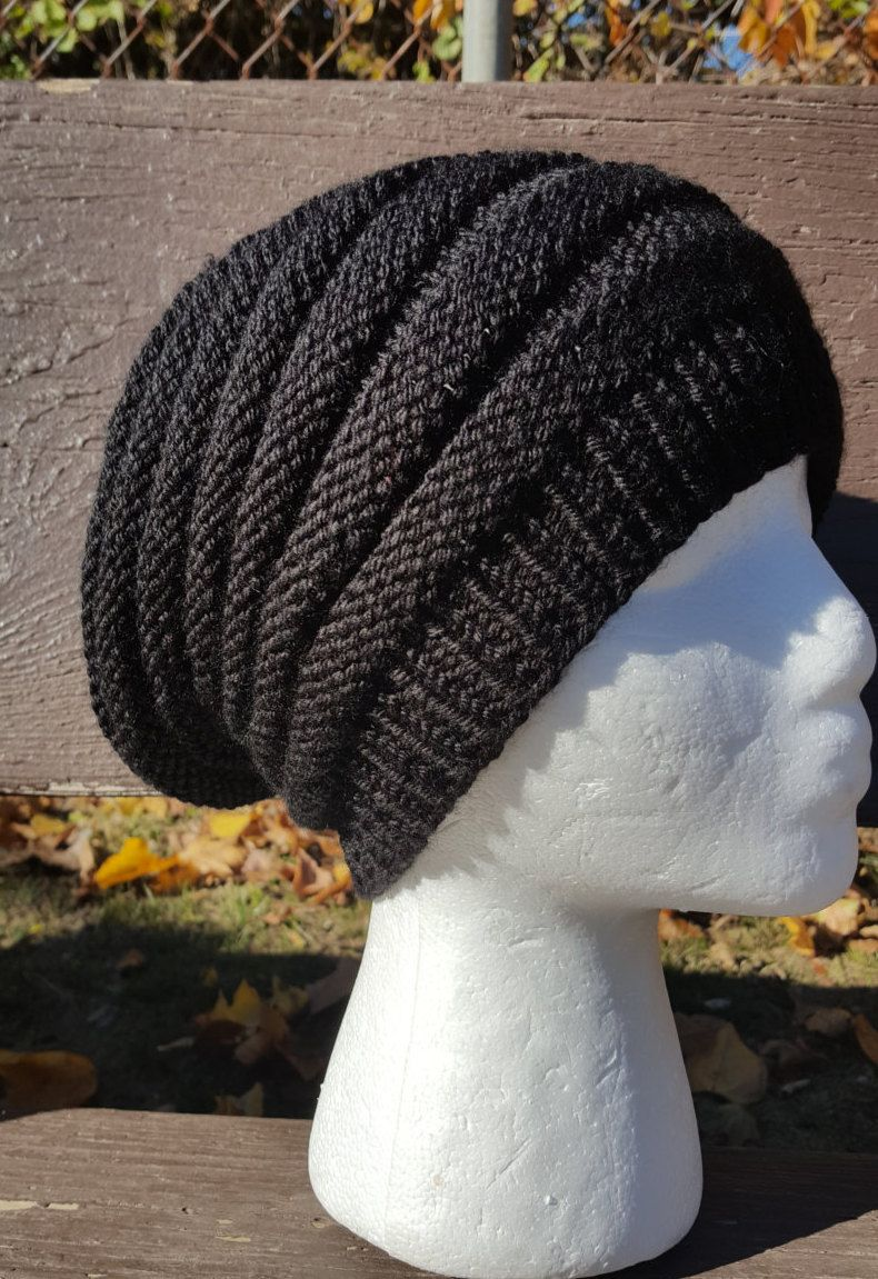 6fca1d0fca2 Black Beanie   Black Slouchy Hat   Black Ribbed Beanie   Black Knit Slouchy  hat   Knit winter slouchy hat   Hipster hat   Black beret by  UniqueKnitDesign on ...
