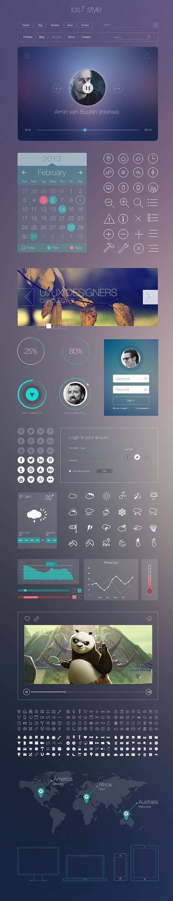 Cool iOS 7 Style UI Kit. Today's featured freebie is a iOS 7 inspired UI kit for modern apps. It includes a wide variety of elements built with vector shapes that can easily adapt to your needs. Created by Mahmoud Fahim and Mohamed Marakshy.  #featured #f